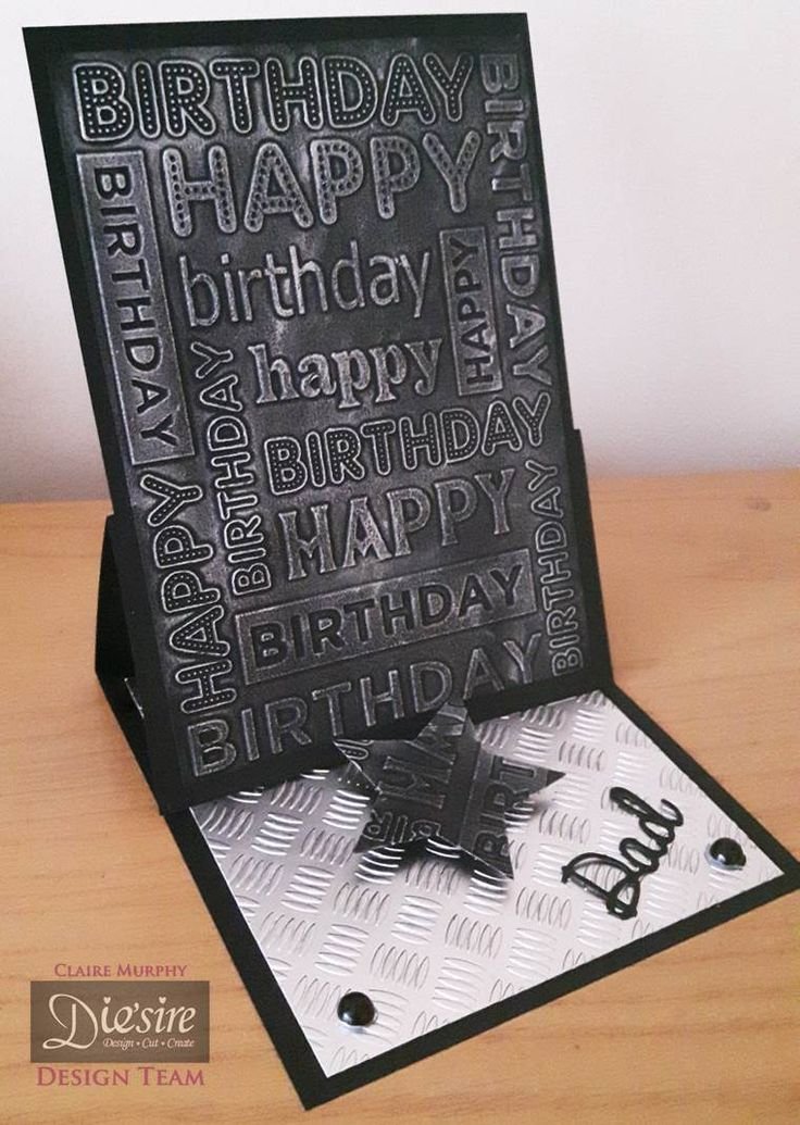 """Claire Murphy - Crafter's Companion - Sara Davies' Signature Collction Just for Men - Dies: - Male Sentiments """"Dad"""",  Superstars - Folders: Checkerplate. On your Birthday - Matt Black card - Pebeo Silver Gilding wax - Collall All Purpose and 3D Glue Gel - #crafterscompanion"""