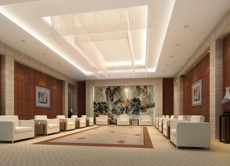 vip reception room interior design rendering 3d