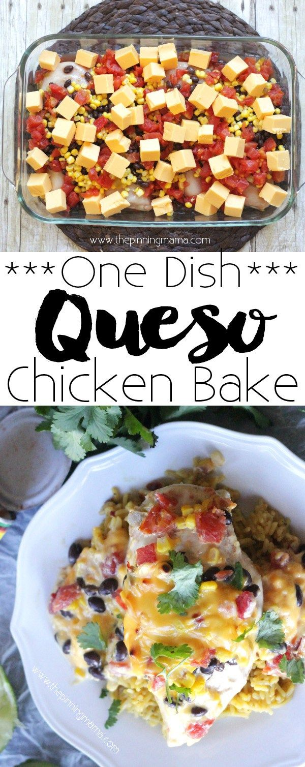 Queso Chicken Bake Recipe - This dinner recipe is so easy you can have it from the fridge to the oven in 10 minutes! And wow is it good! Rotel queso dip was always my favorite!!