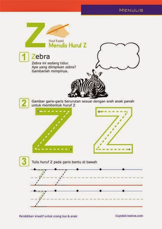 belajar paud anak TK/balita, latihan menulis huruf besar (kapital), A-Z