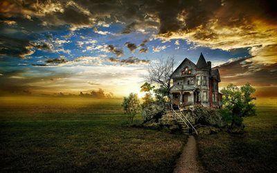 Scarica sfondi autunno d'oro, vecchia fattoria