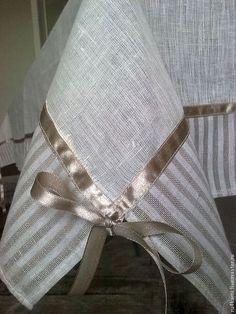 """Текстиль, ковры ручной работы. Ярмарка Мастеров - ручная работа. Купить """"ИНТЕРЬЕРНАЯ""""  льняная скатерть. Handmade. Интерьер, атласная лента"""