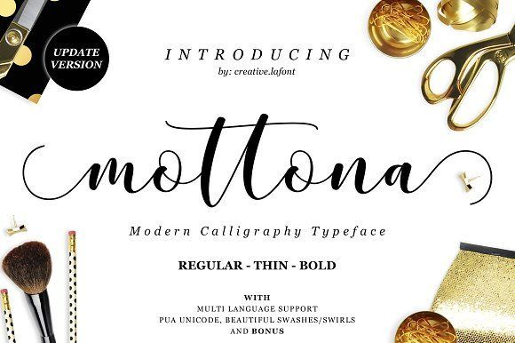 Mottona Script (Regular-Thin-Bold) by Creative.lafont on @creativemarket
