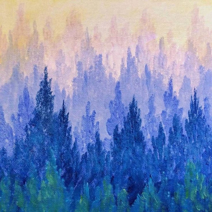 How to Paint a Misty Mountain Forest | Easy Acrylic Painting Video Tutorial by Angela Anderson on YouTube | Learn Ombre Pine Trees | Free Art Lesson | Kids Family and Church Paint Party Idea | Beginner Acrylic Painting Instruction #angelafineart #acrylicpainting by thankfulart