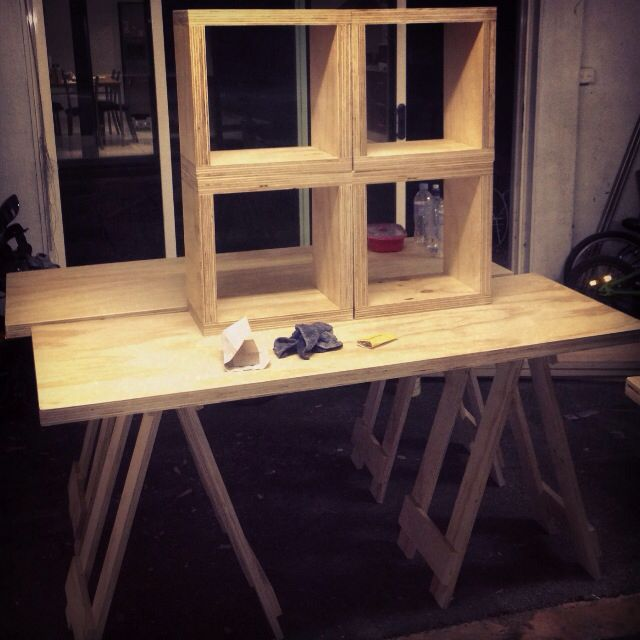 Plywood furniture, trestles and boxes