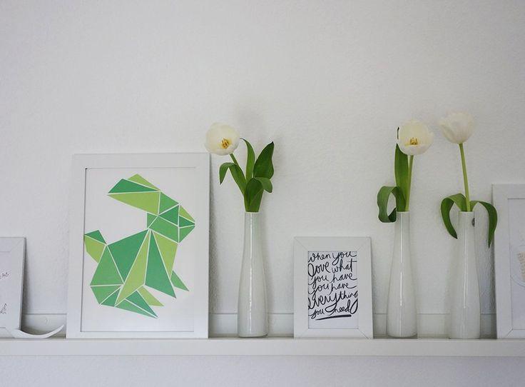 bilderleiste, ikea, origami, hase, ostern, vorlage, washi tape, einrichtung, grün, weiß