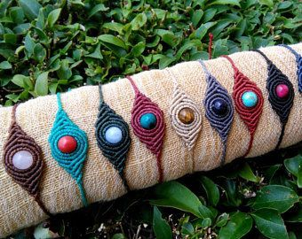 Pulsera de macrame de Boho con piedra preciosa, pulsera de cuentas, piedra de macrame, pulsera hippie, pulseras de piedras preciosas, joyas boho, pulsera de yoga
