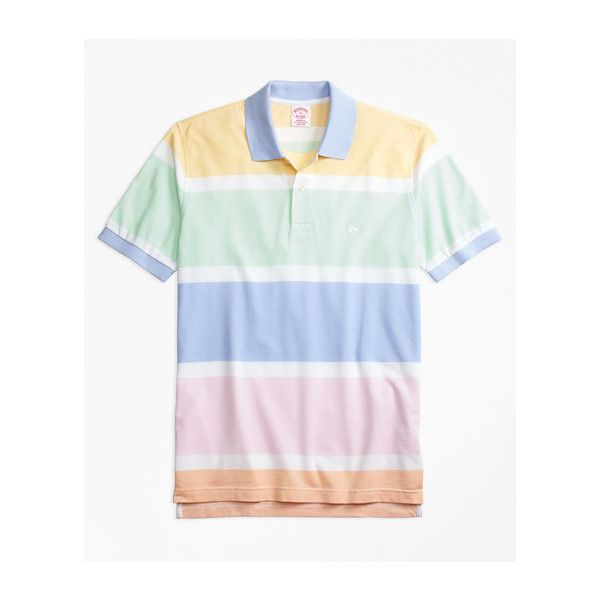 Brooks Brothers Original Fit Supima® Cotton Road Map Stripe Polo Shirt (5,125 INR) ❤ liked on Polyvore featuring men's fashion, men's clothing, men's shirts, men's polos, mens slim shirts, mens striped polo shirts, mens cotton oxford shirts, mens slim fit shirts and mens striped oxford shirt