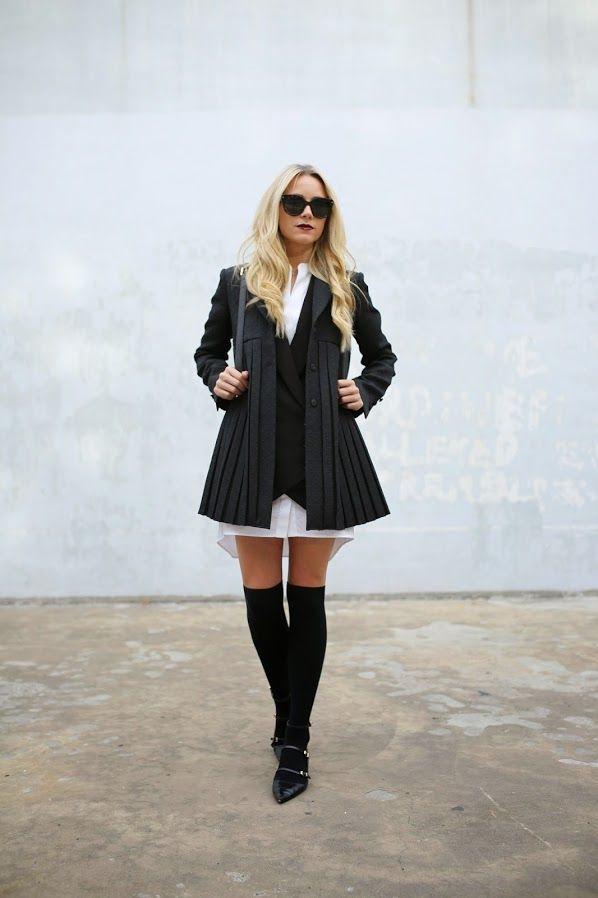 Blair Eadie está vestindo uma jaqueta e bolsa de Tory Burch, vestido da BCBG, coxa elevações da H & M, Zara e sapatos de óculos de sol Prada