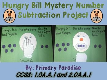 This project is common core aligned for First and Second Grade.    It deals with: CCSS: 1.OA.A.1 and 2.OA.A.1 - subtraction with unknowns in every position. FREE