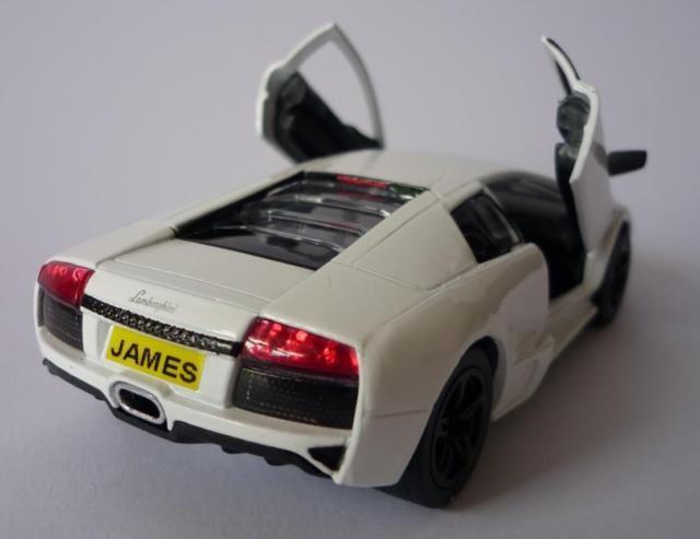 Personalised Plate White Lamborghini Murcielago Toy Car