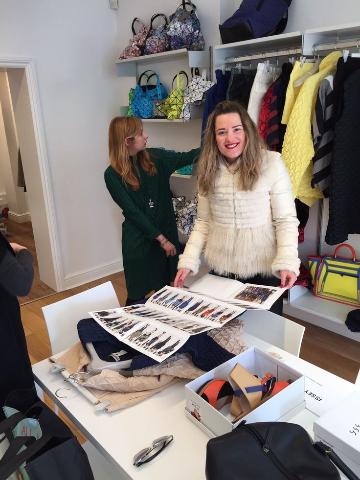 Bukre Pohle choosing items for editorial from Issey Miyake London. Editorial Stylist Personal Stylist Fashion Designer