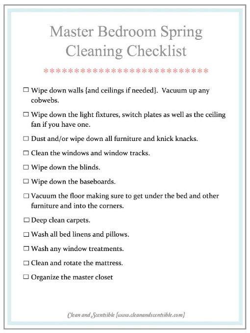 Dormitorio principal Primavera Lista de verificación de limpieza de limpieza y Scentsible.
