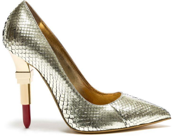 Женские туфли-лодочки на каблуке в форме губной помады, золотые с эффектом кожи…