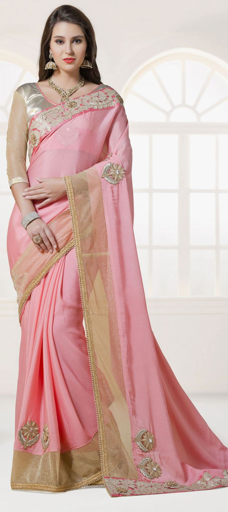 Pink and Majenta color family Embroidered Sarees, Party Wear Sarees with matching unstitched blouse.