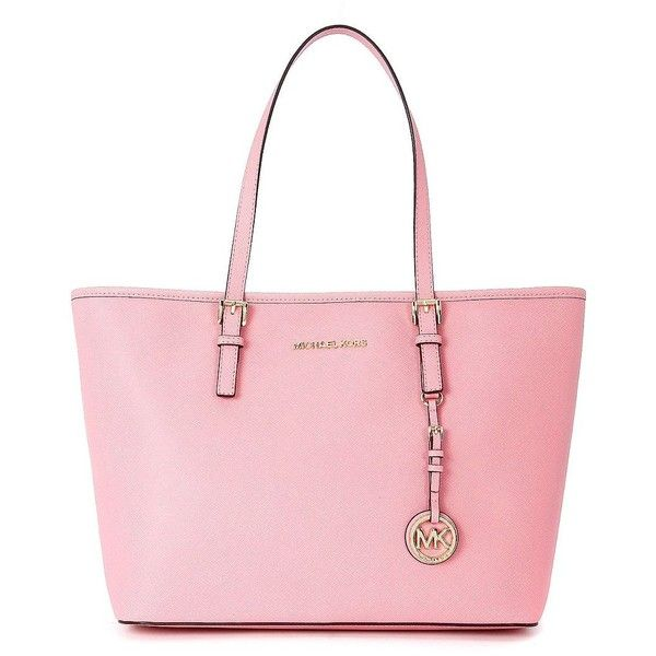 Michael Kors Shoulder Bags ($270) ❤ liked on Polyvore featuring bags, handbags, shoulder bags, rosa, saffiano leather handbags, shopping bag, pink purse, zipper purse and travel handbags