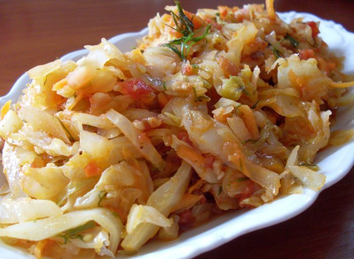 Young white cabbage braised with cumin ... a delicious addition to dinner