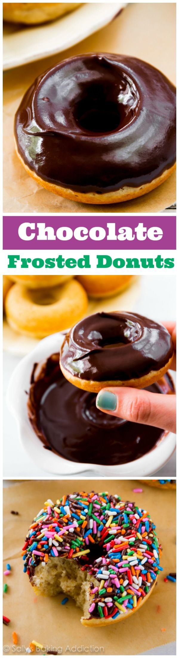These Chocolate Frosted Donuts are baked, not fried - and they are SO easy to make! One of my best recipes.