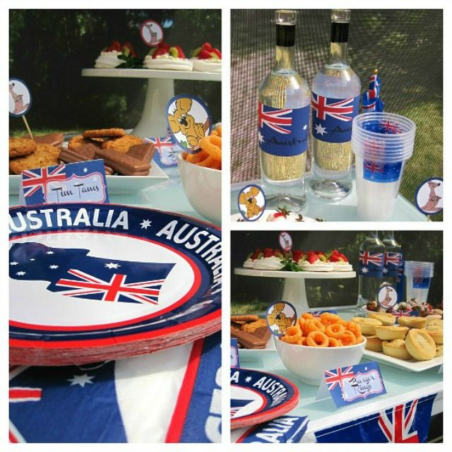 Australia Day Celebrations. Party table set up for Australia Day using printables from  Smart Party Planning. http://smartpartyplanning.com/australia-day-party-printables/