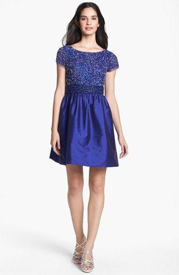 Adrianna Papell Embellished Mesh & Taffeta Dress | Nordstrom