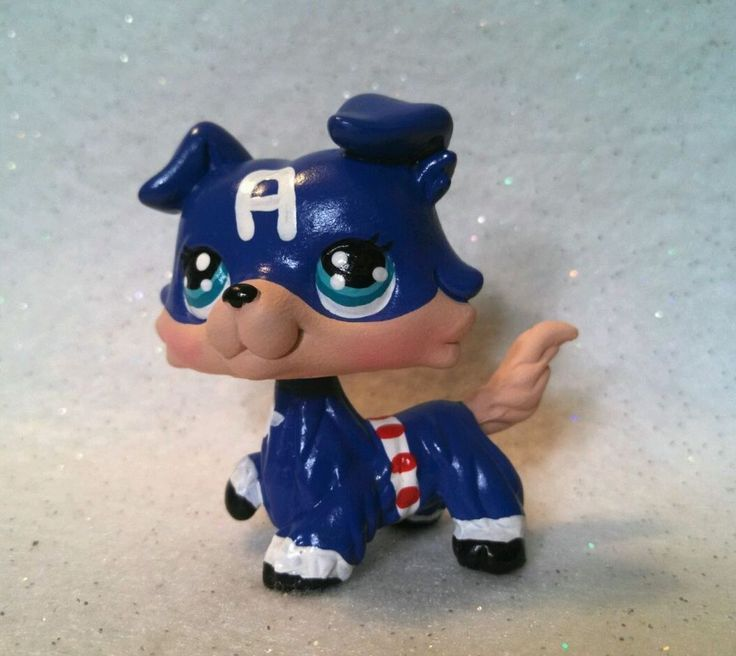 Collie Dog C. America Super Hero * OOAK Hand Painted Custom Littlest Pet Shop #Hasbro