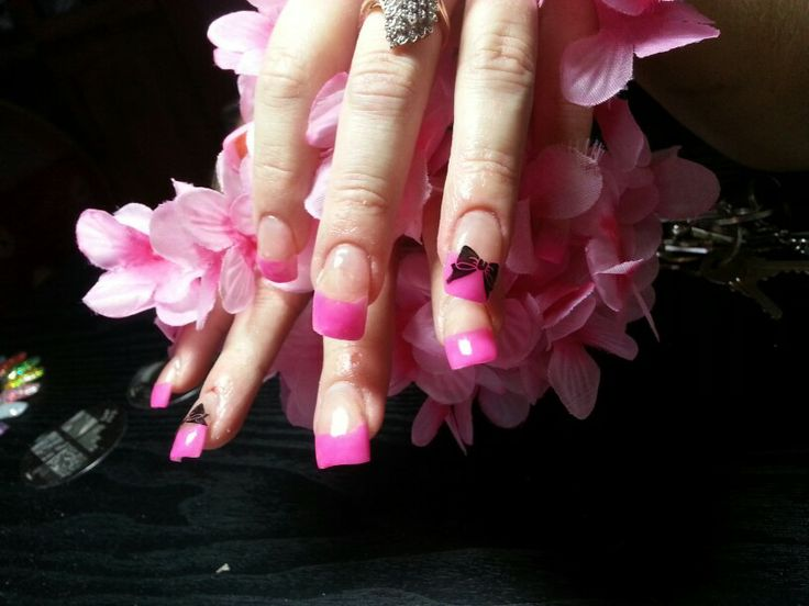 Pink acrylic with stamping