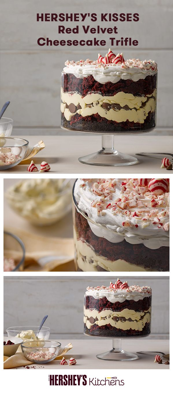 The holiday season calls for this KISSES Red Velvet Cheesecake Trifle. This recipe is made with HERSHEY'S Cocoa, HERSHEY'S Kitchens Semi-Sweet Chocolate Chips, HERSHEY'S KISSES Brand Milk Chocolates, and HERSHEY'S KISSES Brand Candy Cane Mint Candies. Layers of red velvet cake and cheesecake pudding are topped with whipped cream and HERSHEY'S KISSES. This festive treat is great for Christmas dinner or winter birthdays!
