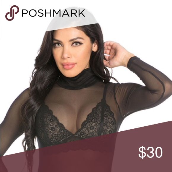 "Mesh bodysuit/Black Mesh bodysuit in black. Super cute. ""Just in time for Valentines Day❤️❤️❤️❤️❤️ Tops"