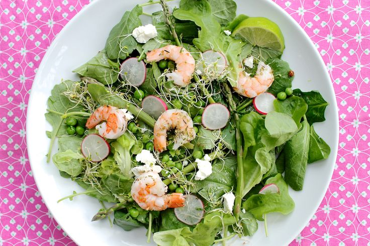 Asparagus and Pea Salad with Lime Mint Shrimp