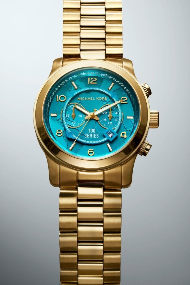 Gold Michael Kors Watch with Aqua Face | Fashion ...