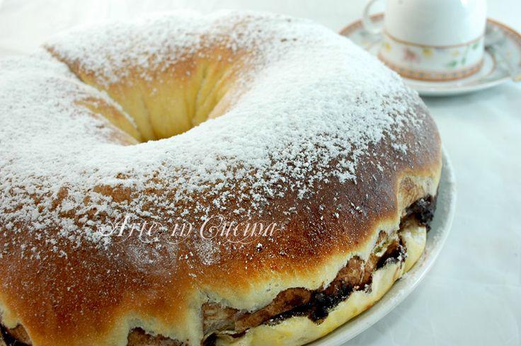 Ciambella di pan brioche alla nutella, ciambella lievitata per la colazione, ricetta molto facile, ciambella per feste di compleanno, nutella fatta in casa