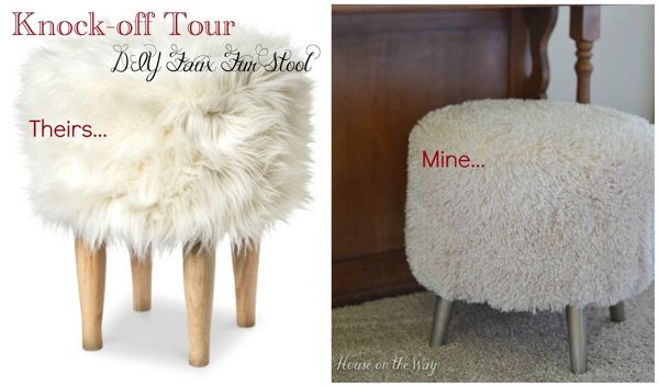 DIY Faux Fur Stool - from houseontheway.com. A cheap footstool recovered with faux fur to create a knockoff from the Nate Berkus line at Target.