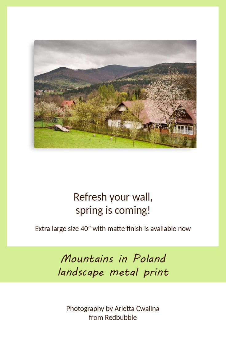 "Searching for a nice decor idea to refresh your home or office with wall art? Now 40"" size metal print with matte finish is available, Mountains landscape in Poland. Nature Photography by Arletta Cwalina/ @redbubble. See more clothes and home decor ideas and if you love it, feel free to share, maybe your friends would like to have it too :) #homedecor #metalprint #mountains #poland"