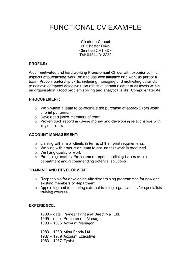 Functional Cv Example In Word And Pdf Formats Functional Resume Template Cv Examples Resume Objective Statement