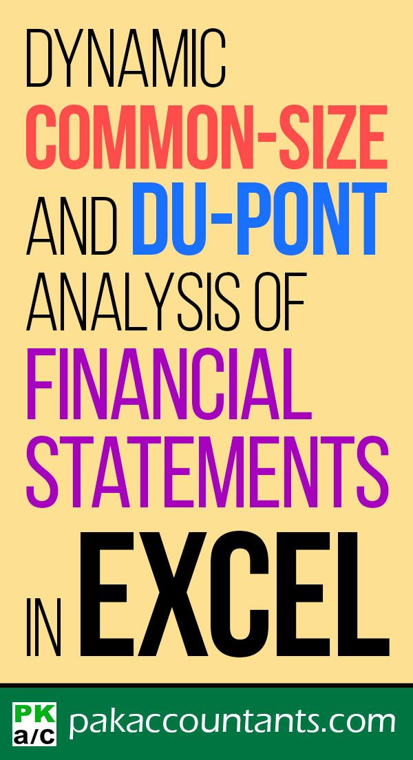 Making Dynamic Common Size And Du Pont Analysis Of Financial Statements In Excel Free Tutorials Tips Tricks Techniques Formulas Downlodable