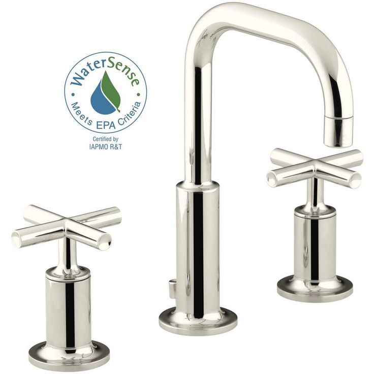 KOHLER Purist 8 in. Widespread 2-Handle Low-Arc Bathroom Faucet in Vibrant Polished Nickel with Low Gooseneck Spout-K-14406-3-SN - The Home Depot