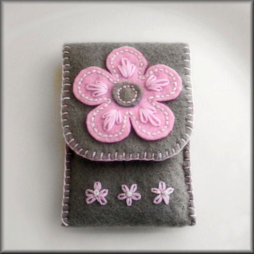 Ipod / cell phone case cozy felt hand embroidery grey and baby pink FREE SHIPPING. $29.99, via Etsy.