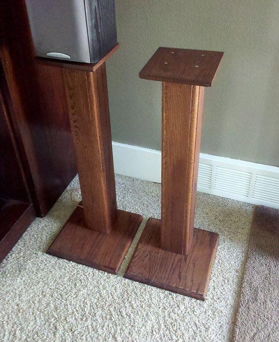 NEW LOWER PRICE! Rustic Red Oak Surround Sound Speaker Stands by PJsCraftingCorner