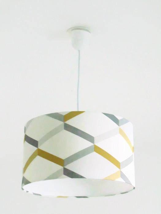 lustre suspension avec abat jour cylindrique en papier intissé motifs géométrique - scandinave - jaune gris rond fait main et système électrique inclus longueur du fil maxi 60 cm réglable - ampoule à utiliser 60 watts max (non fournie) disponible en diamètre 40 - 35 - 30 cm