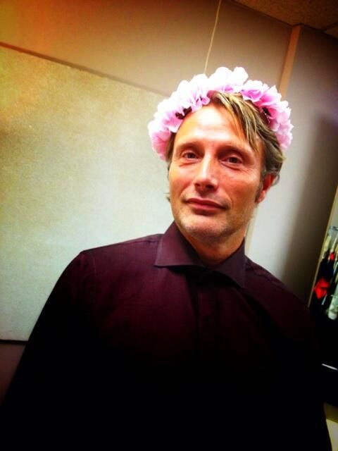Mads Mikkelsen in a #HANNIBAL Wardrobe Fitting Expresses #FANNIBAL Gratitude with a Floral Crown (via Bryan Fuller's Twitter)