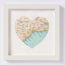 Malaga Map Heart Print - New