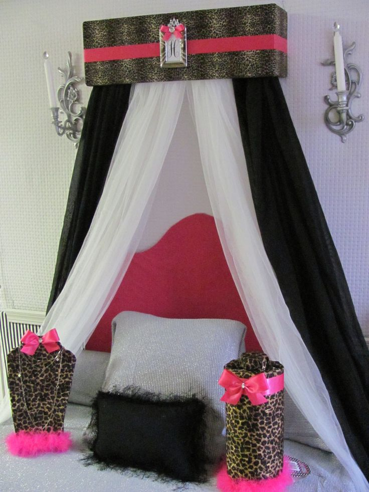 Cheetah Hot Pink BED Canopy Crib Nursery CROWN Animal Print Leopard Teester Cornice Valance Princess Silver