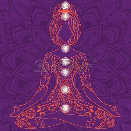 energia espiritual: Ornamento tarjeta hermosa con vector de yoga. Dibujado elemento geométrico mano. Tarjetas perfectas para cualquier otro tipo de diseño, cumpleaños y otras fiestas, caleidoscopio, medallón, el yoga, la india, árabe Vectores