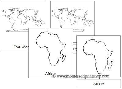 Continents of the World (no color) - Printable Montessori Learning Materials for home and school. #Montessori