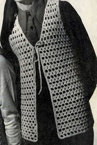 Open Stitch Crocheted Vest crochet pattern from Vests, originally published by Fashions in Wool, Volume No. 120.