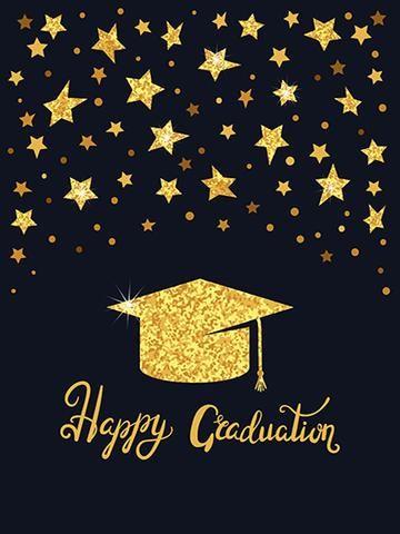 Kate Graduation Ceremony Golden Doctor Cap with Golden Stars Backdrop