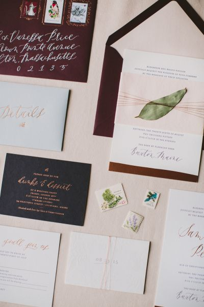 Maroon and rose gold wedding invitation suite: http://www.stylemepretty.com/2016/04/27/60-of-the-most-unique-wedding-invitations-ever/ Photography: Henry and Mac - http://henryandmac.com/