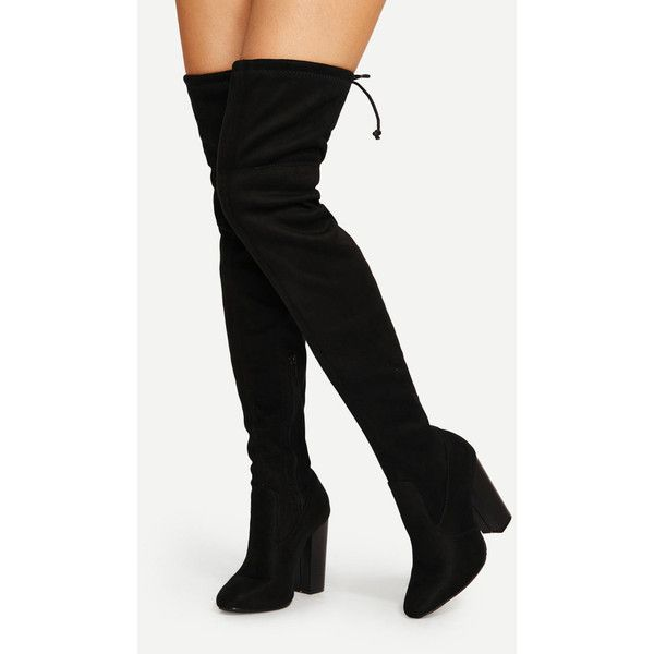 Lace Up Detail Block Heeled Thigh High