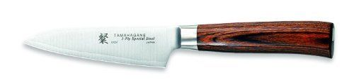 Tamahagane San SN-1109H - 3 1/2 inch, 90mm Paring Knife by Tamahagane. $87.95. Balanced with a stainless steel weight that attaches to the tang. Distinctive, comfortable handle made of rich, dark laminated wood. Exceptionally sharp edge thanks to thin VG5 steel core sandwiched between layers of SUS410 steel for stain resistance. Hand wash only; limited lifetime warranty; made in Japan. 3-1/2-inch paring knife blends modern construction techniques with Japanese kni...