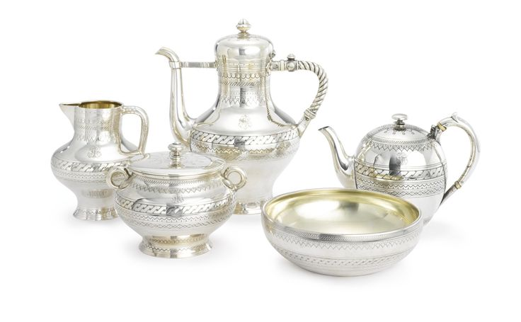 A russian silver fivepiece tea and coffee service